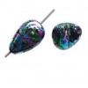 Glass Beads 13x8mm Tear Drop With Hole Speckle Blue/Pink